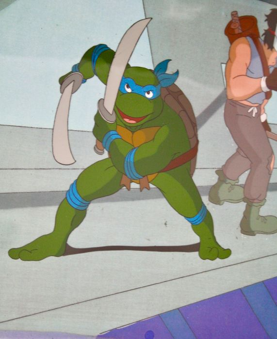 TMNT Teenage Mutant Ninja Turtle - Original Animation Production Cel with Copy Background - e certificado de autenticidade - (1987/1996)