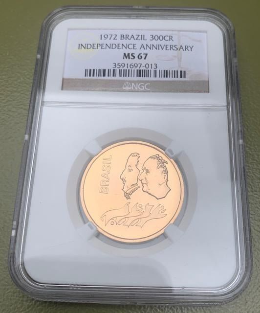 Brazilië - 300 Cruzeiros 1972 Independence Anniversary in NGC Slab  - Goud