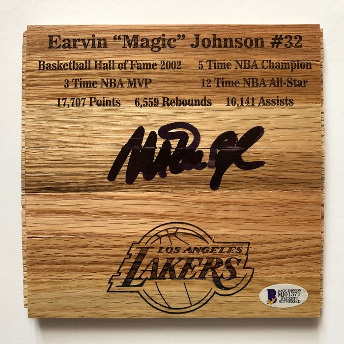 Los Angeles Lakers - Wood Floorboard Piece - Magic Johnson - Basketball