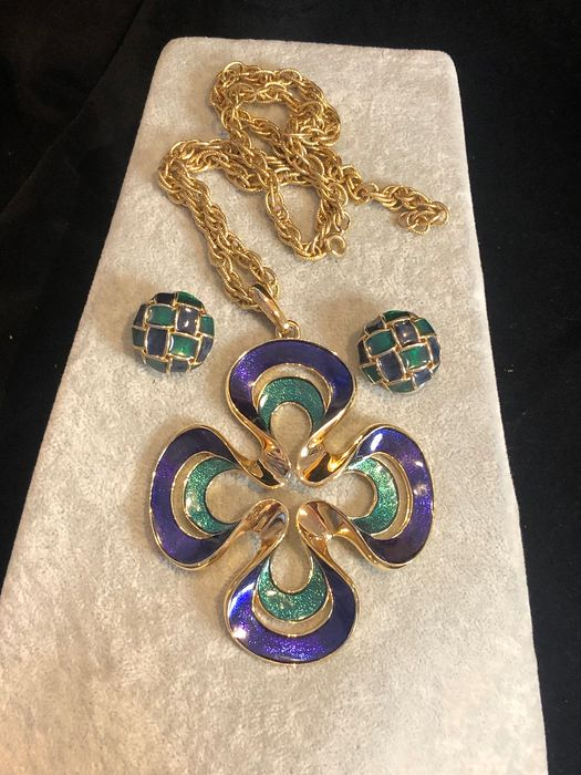 Gold-plated - D'Orlan enamelled blue green necklace earrings set