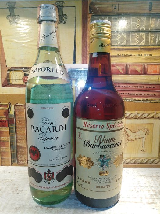 Bacardi, Barbancourt - Superior, Reserve Special 8 years  - b. Années 1970, Années 1980 - 750ml, 0.757 Ltr - 2 bouteilles