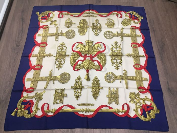 """Hermès -  Hermes Paris Scarf """" Ferronnerie """" designed by Caty Latham,  first issued in   1970 Scarf"""