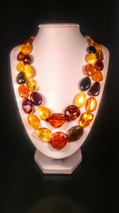Mix colour Baltic amber  - Necklace - Natural (untreated)