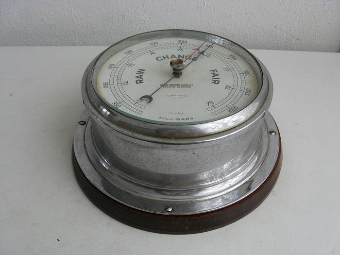 Antique ship barometer Sestrel - Metal nickel plated - Early 20th century