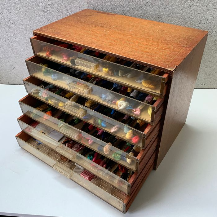DMC - Haberdashery Chest of drawers with Contents - Wood