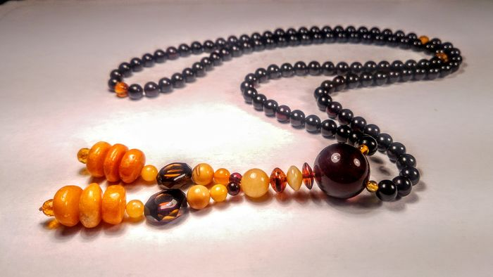 Japa Mala style Prayer 108 beads - necklace - 100% Genuine Baltic amber