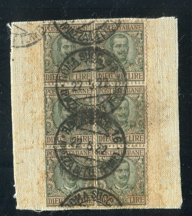 """Italy Kingdom 1910 - Canvas fragment of insured mail stamped with block of 6 """"Floral"""" £10 - Sassone N. 91"""
