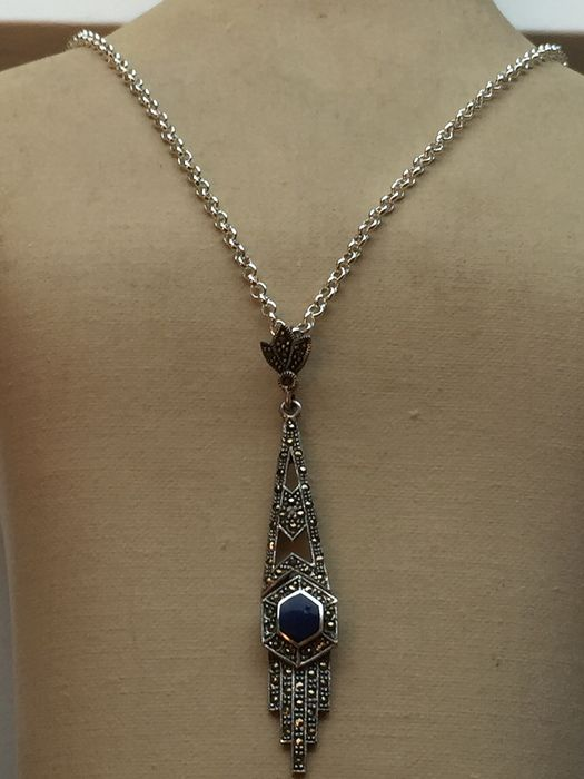 Art Deco - 925 Silver - Necklace with pendant Lapis lazuli