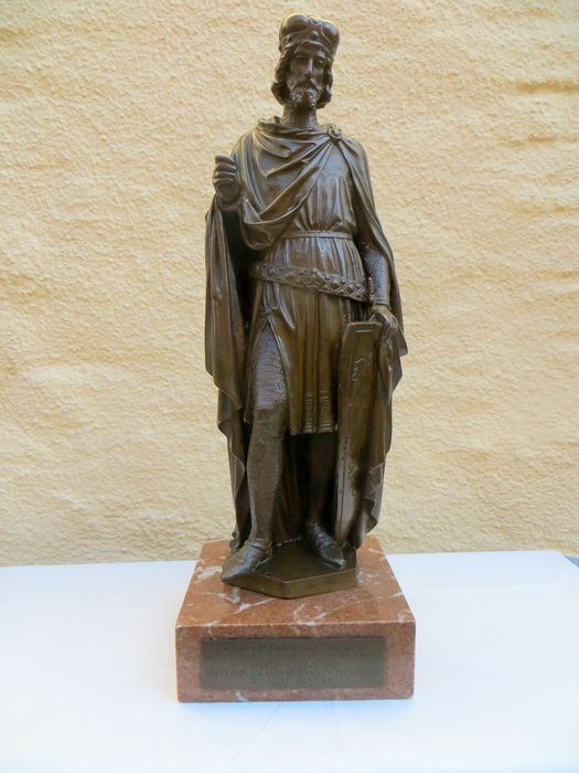 Bronze statue of king (saint?) Wenceslas (= Vaclav) - Bronze (patinated) - First half 20th century