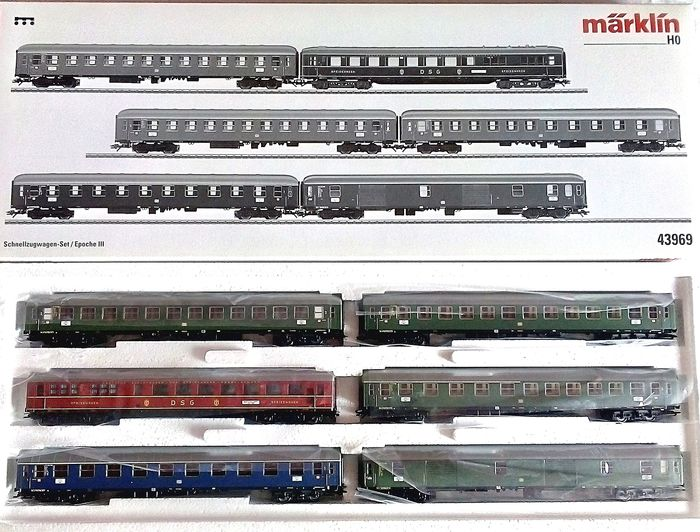 Märklin H0 - 43969 - Passenger carriage set - 6 part Express train around 1963 - DB