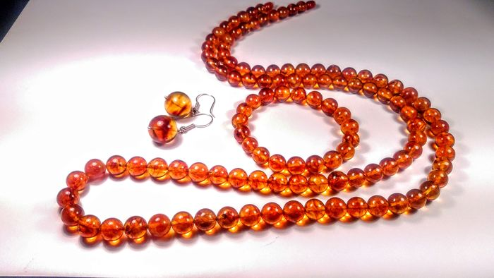 Cognac colour Baltic amber - Bracelet, Earrings, Necklace, Set - Natural (untreated)