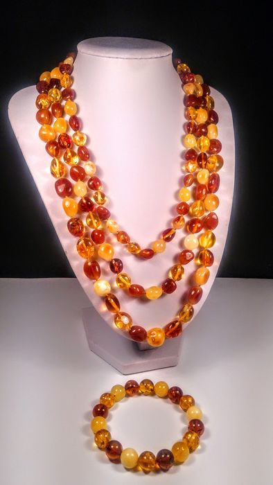 Baltic amber - Bracelet, Necklace - Natural (untreated)