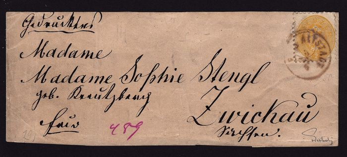 Austria 1864 - 2 kr as printed matter post on wrapper (used as newspaper stamp), rare