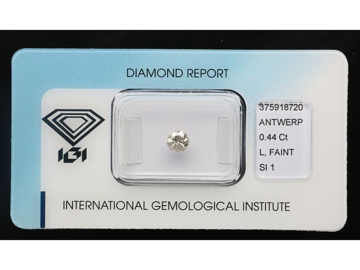 1 pcs Diamant - 0.44 ct - Brillant - L, Faint Brown - SI1 ***No Reserve***