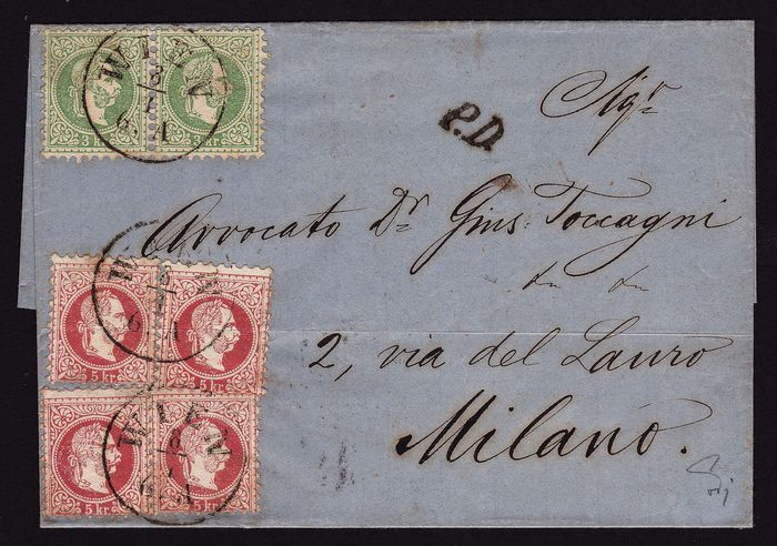 Austria 1867 - Letter - definitive issue with 4 x 3 kr + 2 x 5 kr