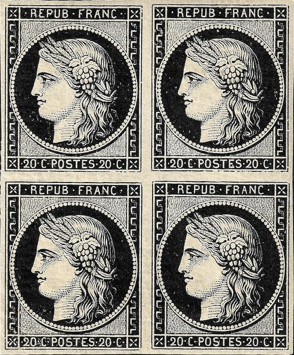 Frankreich 1849 - Exceptional two-sided print variety of 20 centimes intense black on white. - Yvert 3
