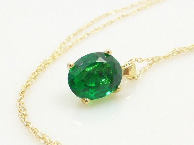 14 karat yellow gold - Necklace with pendant - 1.45 ct Diopside
