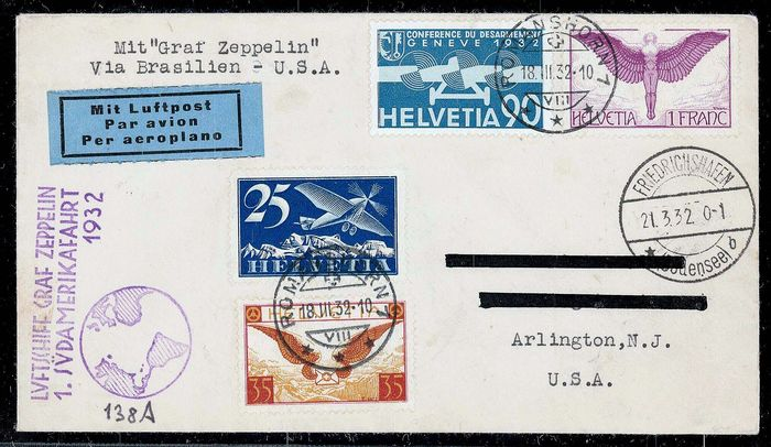 "Zwitserland 1932 - ""Graf Zeppelin"", 1st South America flight 1932 - Swiss post, with 4 airmail stamps Sieger"