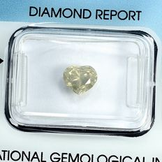 Diamant - 1.12 ct - Hjärta - W-X,Light Yellow-Brown - I1 - NO RESERVE PRICE