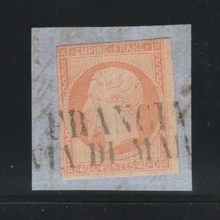 """Francia 1860 - 40 centimes Napoleon imperforate with  """"Francia via di Mare"""" postmark - Yvert N°16"""