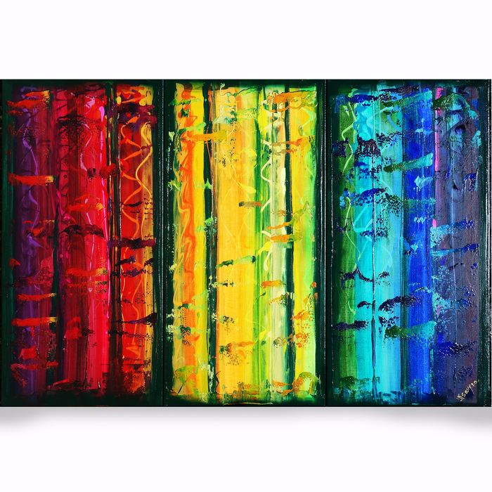 Ksavera - Large Abstract A377 - colorful triptych 100x150cm
