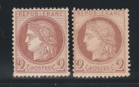 Frankrijk 1872 - Ceres 2 centimes, Third Republic, shades of brown-red and dark brown-red - Yvert N°51