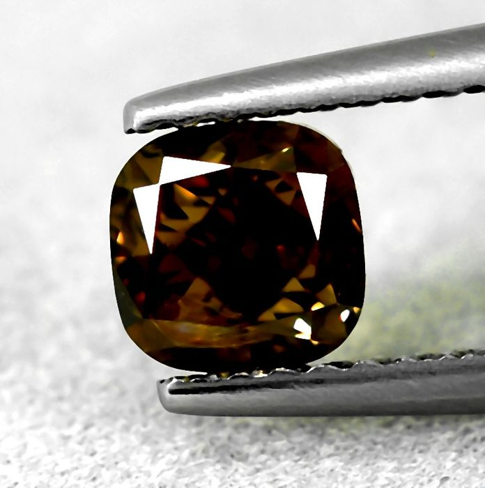 Diamond - 1.01 ct - Cushion - Natural Fancy Intense Orangy Brown - SI1