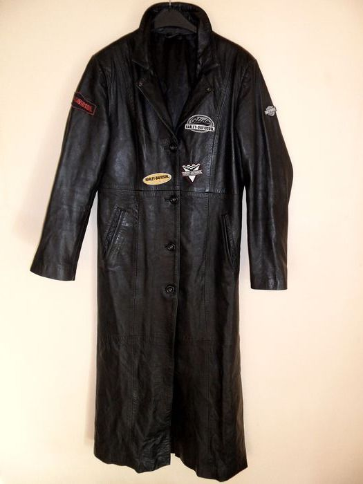 Eccentric Leather Jacket decorated with Harley Davidson emblems - size M-L - 2003