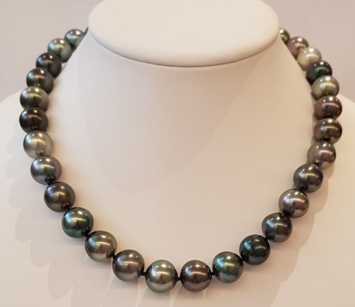 NO RESERVE PRICE - 18 kt. White Gold - 12x13.5mm Round Tahitian Pearls - Necklace