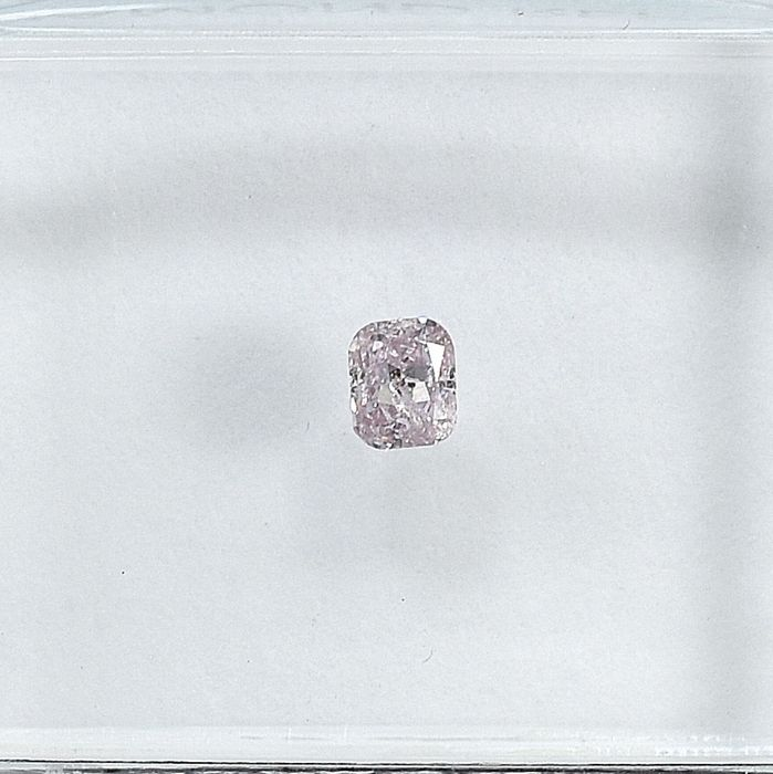 Diamant - 0.10 ct - Cushion - Natural Fancy Light Pink - I1 - NO RESERVE PRICE