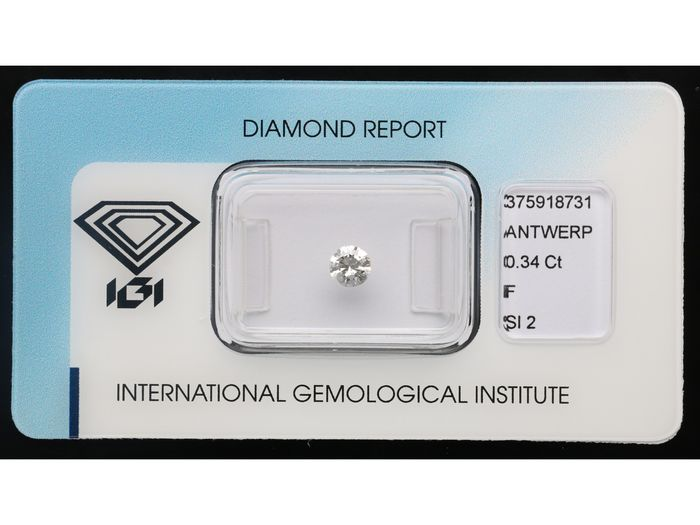 1 pcs Diamante - 0.34 ct - Brillante - F - SI2 ***No Reserve***