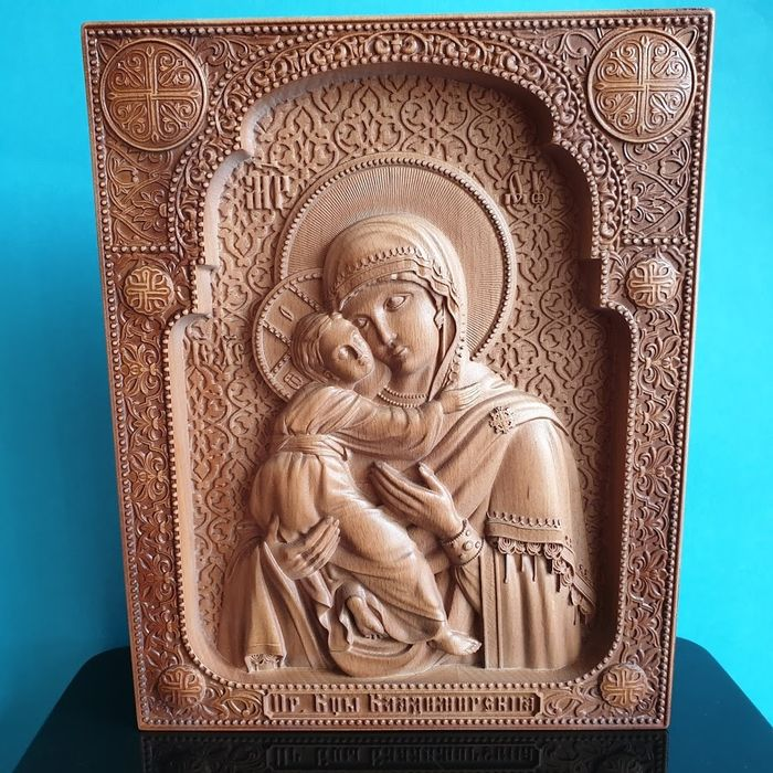 """""""The Mother of God of Vladimir"""" Carved - Russian Orthodox  - Icon - Wood"""