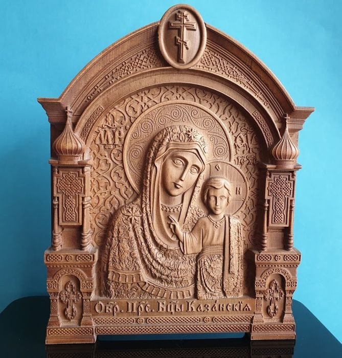 """Hight quality""""  The Kazan Icon of the Mother of God """"  Russian Orthodox - Carved - Icoon - Hout"""
