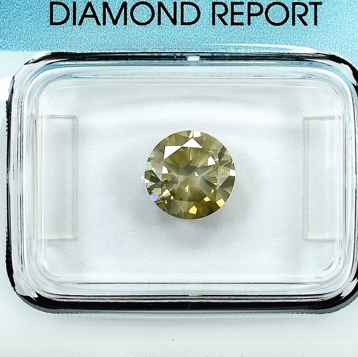 Timantti - 1.37 ct - Brilliant (pyöreä) - Natural Fancy Grayish Brown - I1