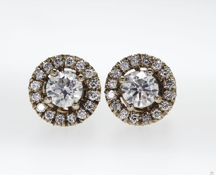 14 quilates Oro amarillo - Pendientes - 1.22 ct Diamante