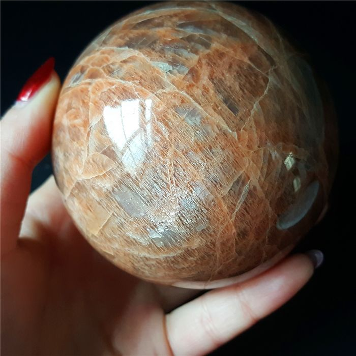 Sunstone (a variety of either oligoclase or orthoclase) Sphere - 77×77×77 mm - 630 g