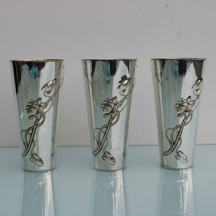 Art Nouveau three silver plated drinking  liquor cups