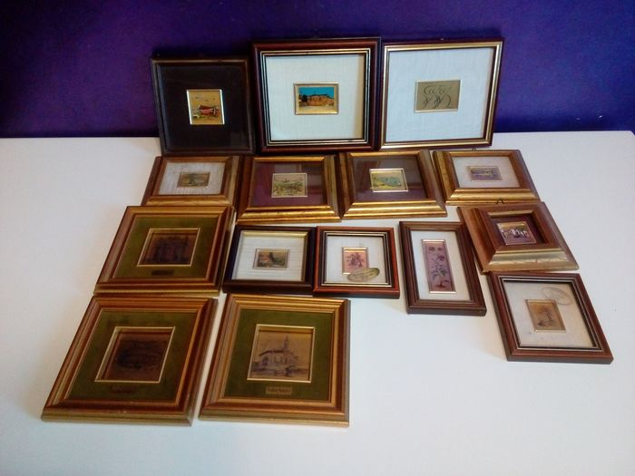 Gold leaf squares (15) - Wood / Glass