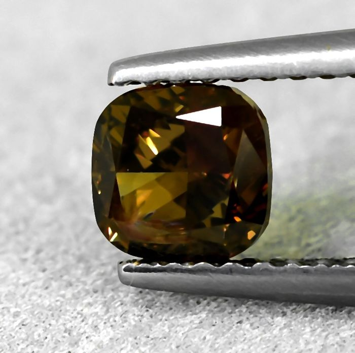 Diamond - 1.01 ct - Cushion - Natural Fancy Intense Orangy Brown - Si1 - NO RESERVE PRICE