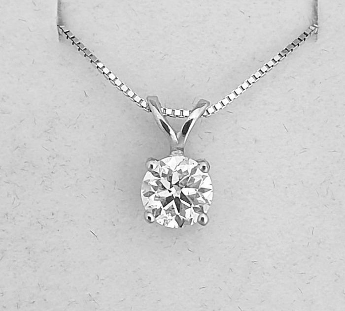14 kt. White gold - Necklace with pendant - Clarity enhanced 0.54 ct Diamond - F/VS1