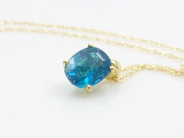14 karat yellow gold - Necklace with pendant - 1.00 ct Apatite