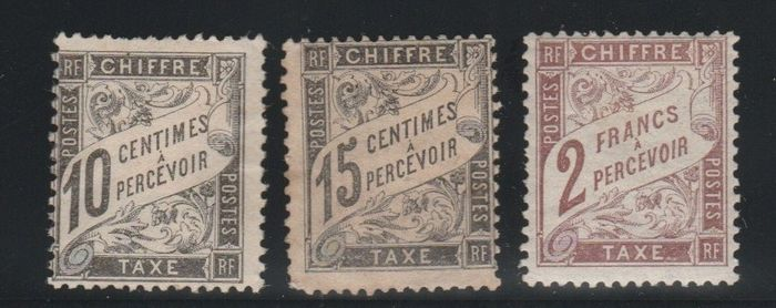 Francia 1871/1884 - Duval postage due stamps N°15, 16 et 26