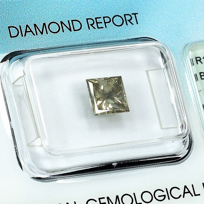 Diamant - 1.19 ct - Prinzess - Natural Fancy Brownish Gray - I1
