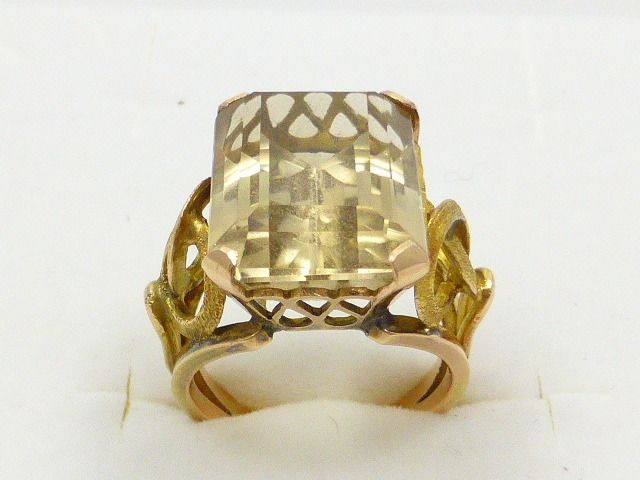 14 kt. Pink gold, Yellow gold - Ring - 16.00 ct Citrine