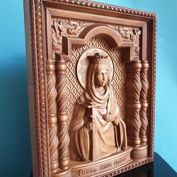 "Hight quality  ""The Holy Great Martyr Irina""  Russian Orthodox Large Carved - Ícone - Madeira"