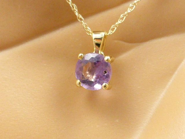 14 kt Yellow gold – Necklace with pendant – 0.45 ct, amethyst