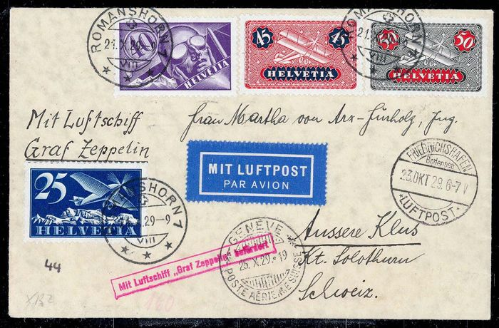 """Zwitserland 1929 - Airship """"Graf Zeppelin"""" Spain flight - rare Swiss delivery - Sieger N. 44A"""