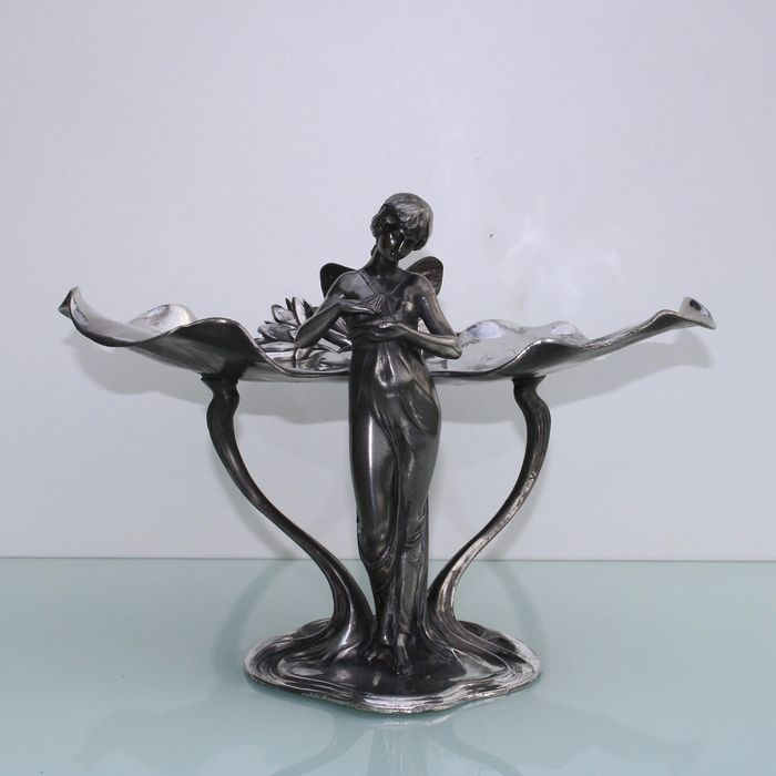 WMF - Art nouveau visiting card tray lady with bird