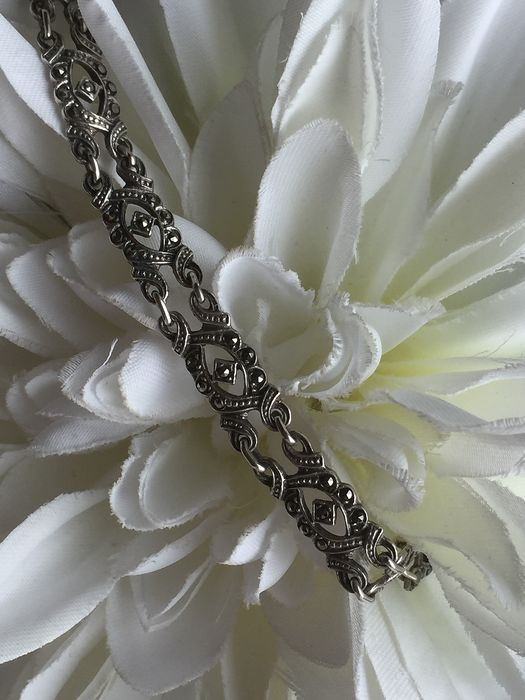 925 Silver - Bracelet hand-made marcasite