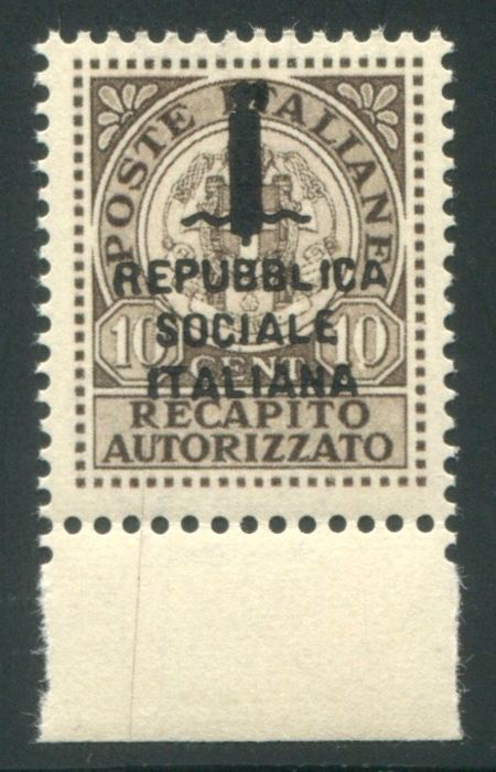 "Italië 1944 - RSI 10 cents ""Recapito"", unissued, sheet edge - Sassone N. 3A"